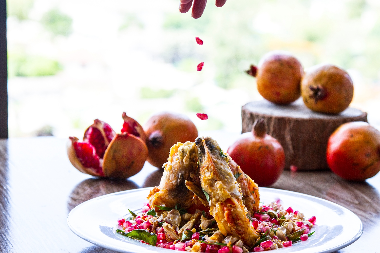 Wok-Fried King Prawns with Pomegranate